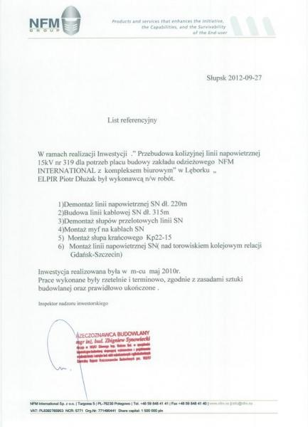 Referencje NFM Group